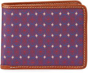 Neiman Marcus Printed Leather Trim Flip Wallet, Purple