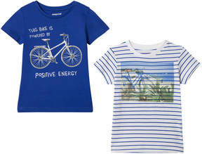Mayoral Pack of 2 Blue Bike Print and Beach Print T-Shirt