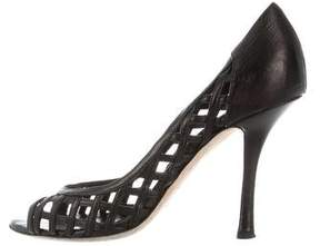 Christian Dior Leather Lattice Peep-Toe Pumps
