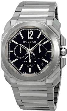 Bvlgari Octo Velocissimo Black Dial Stainless Steel Chronograph Men's Watch