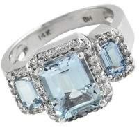 Effy Aquamarine, Diamond And 14K White Gold Ring