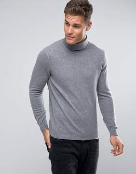Benetton 100% Merino Roll Neck Sweater In Gray
