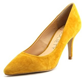 Sole Society Cahya Women Pointed Toe Suede Yellow Heels.