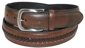 Tommy Hilfiger Men's Leather Belt with Center Lace, 44, Brown
