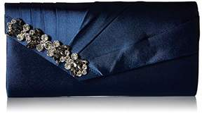 Jessica McClintock Sage Pleated Evening Clutch with Rhinestone Detail