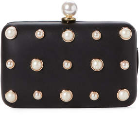 La Regale Black Faux Pearl Embellished Convertible Clutch