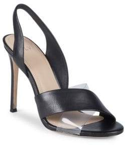 Pour La Victoire Elly Leather & PVC Slingback Sandals