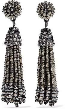 Kenneth Jay Lane Gunmetal-Tone Beaded Tassel Earrings