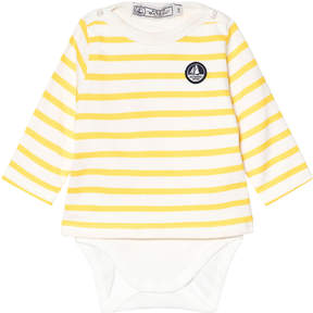 Petit Bateau Yellow And White Striped Baby Body