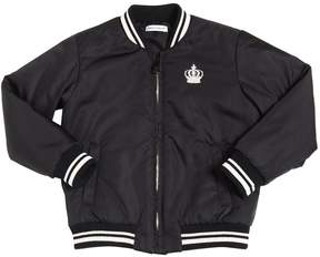 Dolce & Gabbana Crown Detail Nylon Padded Bomber Jacket