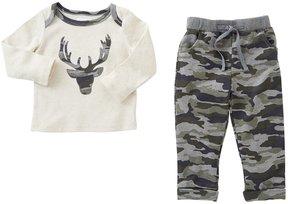 Mud Pie Baby Boys 3-18 Months Little Deer Long-Sleeve Top & Camo Pants Set