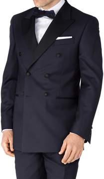 Charles Tyrwhitt Navy Slim Fit Double Breasted Tuxedo Wool Jacket Size 38