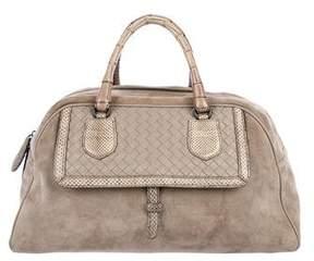 Bottega Veneta Snakeskin-Trimmed Suede Handle Bag