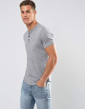 Hollister Henley T-Shirt Slim Fit Icon Logo in Gray