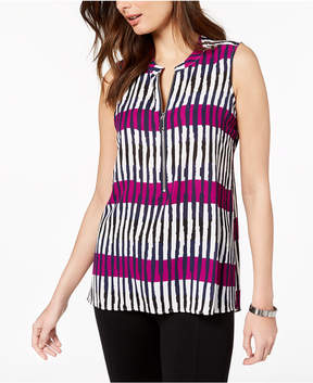 Alfani Front-Zip Sleeveless Top, Created for Macy's