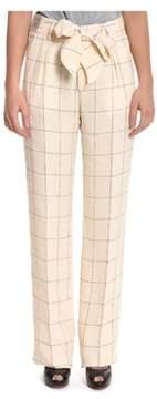 Berwich Women's Beige Linen Pants.