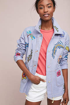 Anthropologie Embroidered Patch Jacket