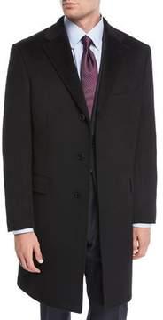 Neiman Marcus Single-Breasted Cashmere Top Coat, Black