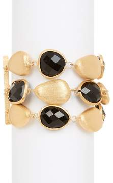 Rivka Friedman 18K Gold Clad Onyx Satin Pebble Bracelet