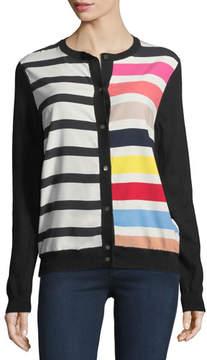 Neiman Marcus Cashmere Contrast-Stripe Cardigan