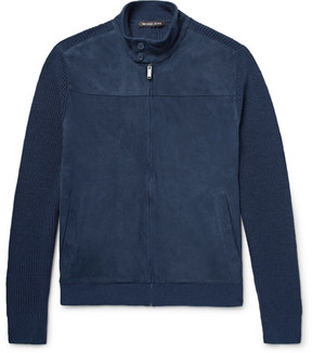 Michael Kors Suede-Panelled Ribbed-Knit Linen And Cotton-Blend Jacket