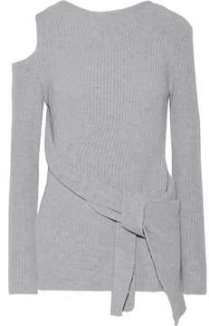 3.1 Phillip Lim Draped Cutout Ribbed Wool And Yak-blend Sweater - Gray