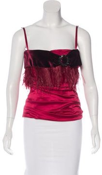 Dolce & Gabbana Ostrich Feather-Trimmed Bustier Top w/ Tags