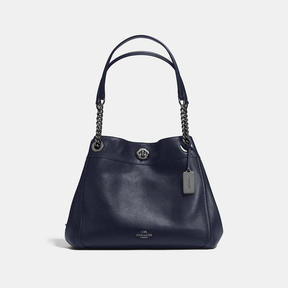 COACH Coach Turnlock Edie Shoulder Bag - DARK GUNMETAL/NAVY - STYLE
