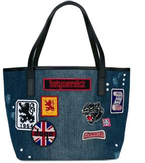 DSQUARED2 patch detailed denim tote