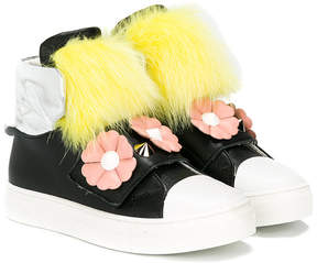 Fendi fur and floral appliquéd hi-top sneakers
