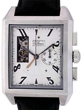 Zenith Port Royal El Primero Open Chronograph Stainless Steel Mens Strap Watch