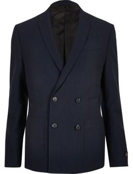 River Island Mens Navy double breasted seersucker suit jacket
