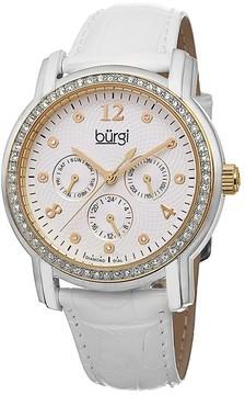 Burgi White Dial White Leather Strap Ladies Watch