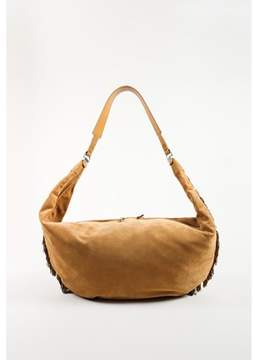 The Row Pre-owned sand Brown Calf Suede Fringed sling 15 Hobo Bag.