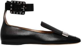 Sergio Rossi 10mm Metal Plaque Leather Flats