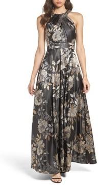 Eliza J Women's Embellished Pleated Jacquard Ballgown