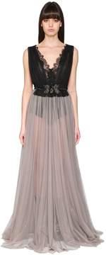 Antonio Marras Tulle & Lace Long Dress