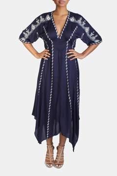 En Creme Boho Embroidery Kimono Dress