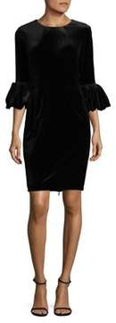 Betsy & Adam Velvet Puff Sleeve Sheath Dress