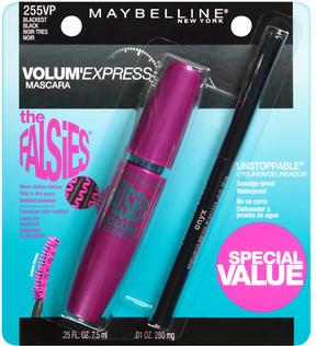 Maybelline Volum' Express The Falsies Washable Mascara/Unstoppable Eyeliner Blackest Black