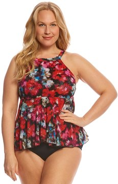 Fit 4 U Fit4U Plus Size Flamenca Mesh High Neck Tankini Top 8155906