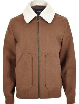 River Island Mens Brown wool blend fleece collar jacket