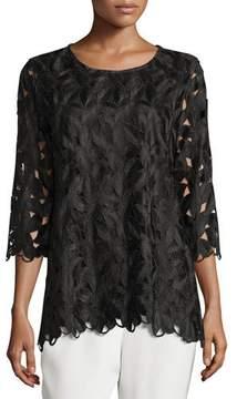 Caroline Rose Half-Sleeve Leaf-Cut Tunic, Plus Size