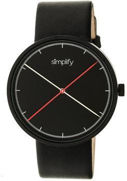 Simplify The 4100 SIM4101 Black Leather Analog Watch