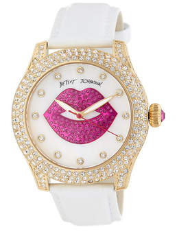 Betsey Johnson Women's Smooches Crystal Leather Watch