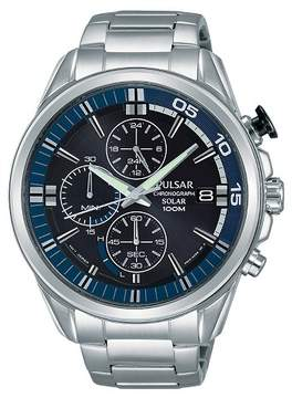 Pulsar Men's Solar Chronograph - Silver Tone with Black Dial - PZ6021