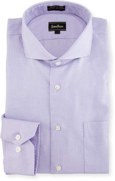 Neiman Marcus Classic-Fit Non-Iron Dobby Check Dress Shirt, Purple
