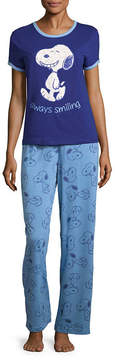 Asstd National Brand Snoopy Short Sleeve Pant Pajama Set