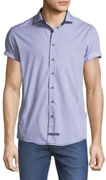 English Laundry Mini-Diamond Short-Sleeve Sport Shirt