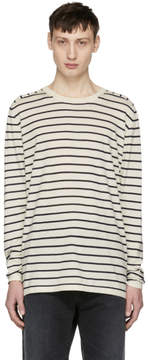 Nonnative Off-White and Navy Striped Manager Sweater